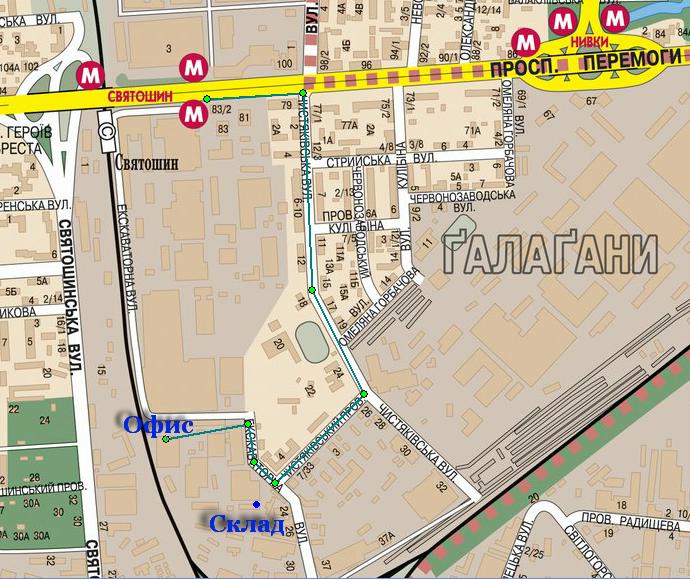 Карта проезда к Увеличь-КА